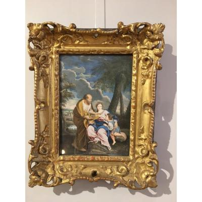 Gouache On Vellum « Holy Family» 18th Century
