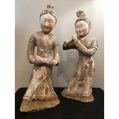 Pair Of Chinese Terracotta Statuettes