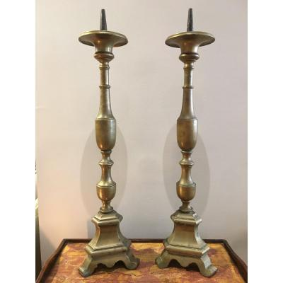Pair Of 17th Century Brass Candlesticks