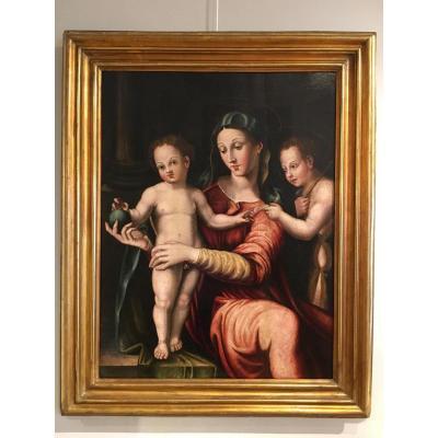 «Vierge à l'enfant, et le petit Saint Jean» Ecole Toscane du 16ème siècle