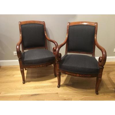 Paire de fauteuils Epoque Charles X
