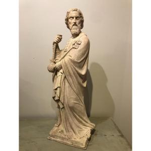 """Statue de """"Saint Zacharie"""" en pierre calcaire"""