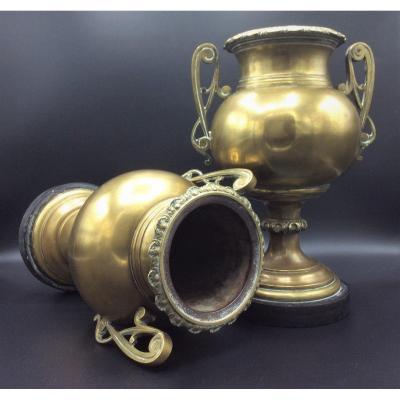 Paire De Cassolettes Ou Vases En Laiton