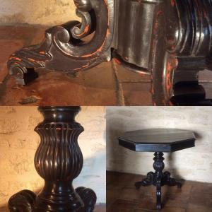 Guéridon  , Table ,Tripode Laqué Noir