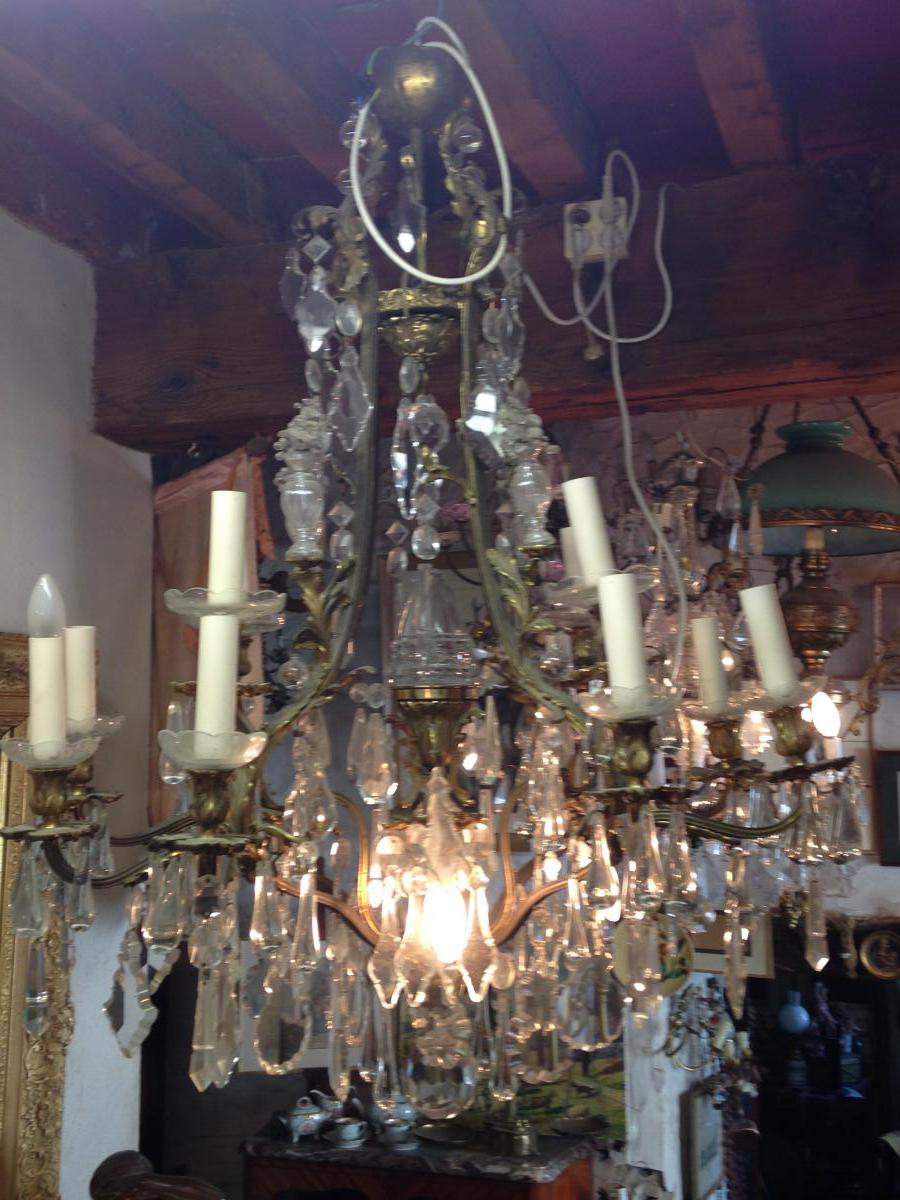 Nineteenth Lighting Bronze And White Crystal Bohemian