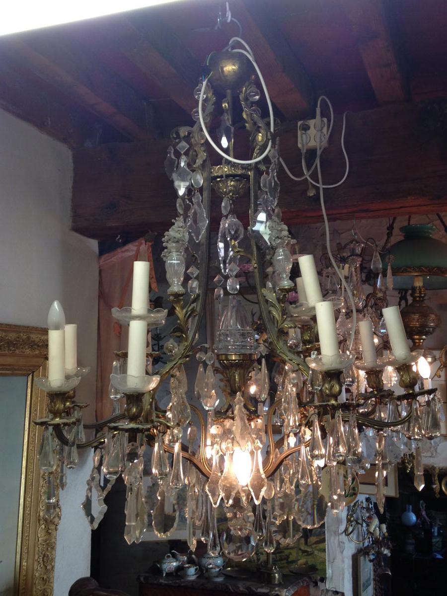 Luminaire XIXe En Bronze Et Cristal Blanc de bohême-photo-2