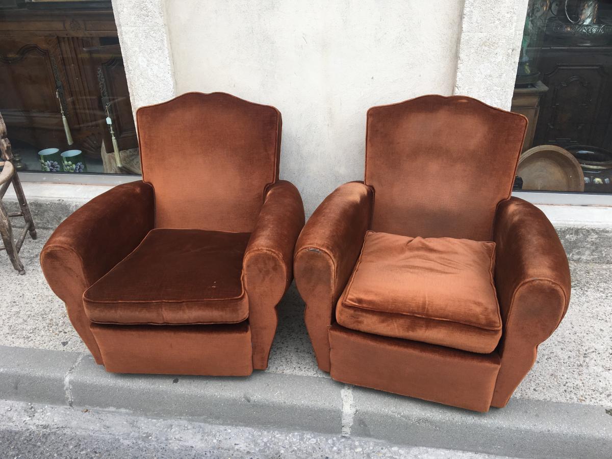 Pair Of Club Chairs In Velvet