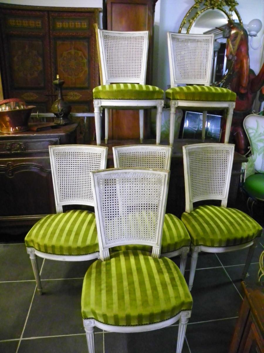 Lot De 6 Chaises Style Lxvi Assises Tissus