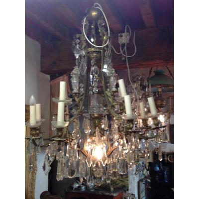 Luminaire XIXe En Bronze Et Cristal Blanc de bohême