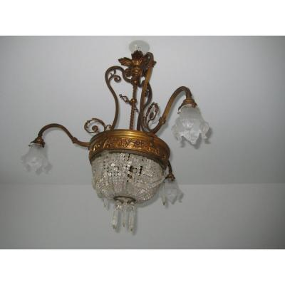 Four Lights Basket Chandelier