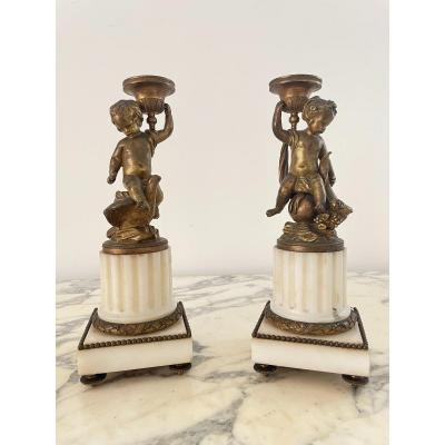 Pair Of Louis XVI Torches In Bronze And Marble
