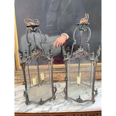 Pair Of Louis XV Lanterns In Bronze