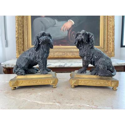 Pair Of Bronze Dogs On Golden Bronze Bases