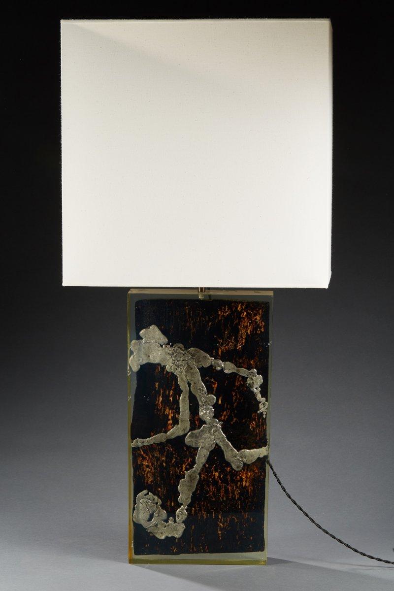 Table Lamp, Plexiglass, Wood And Lead, Circa 1970.
