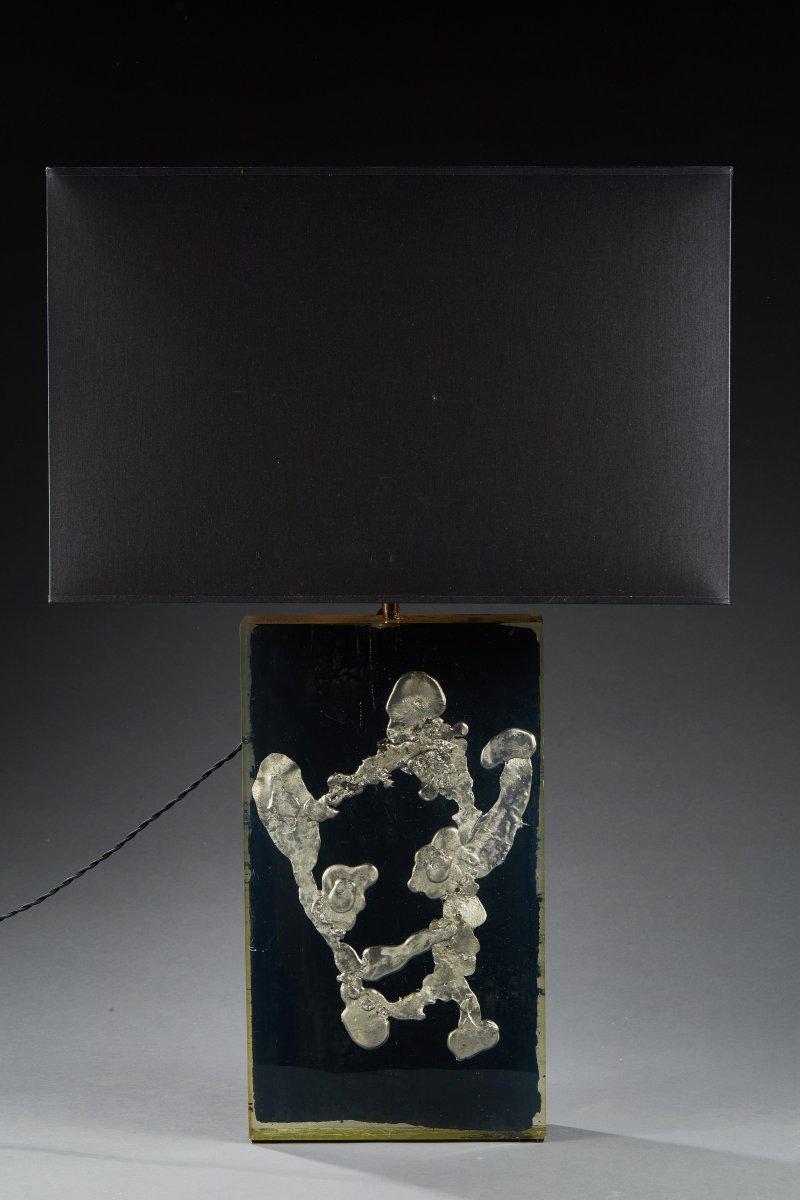 Lampe De Table - Circa 1970 - Bois Et Plomb Sous Plexiglass.