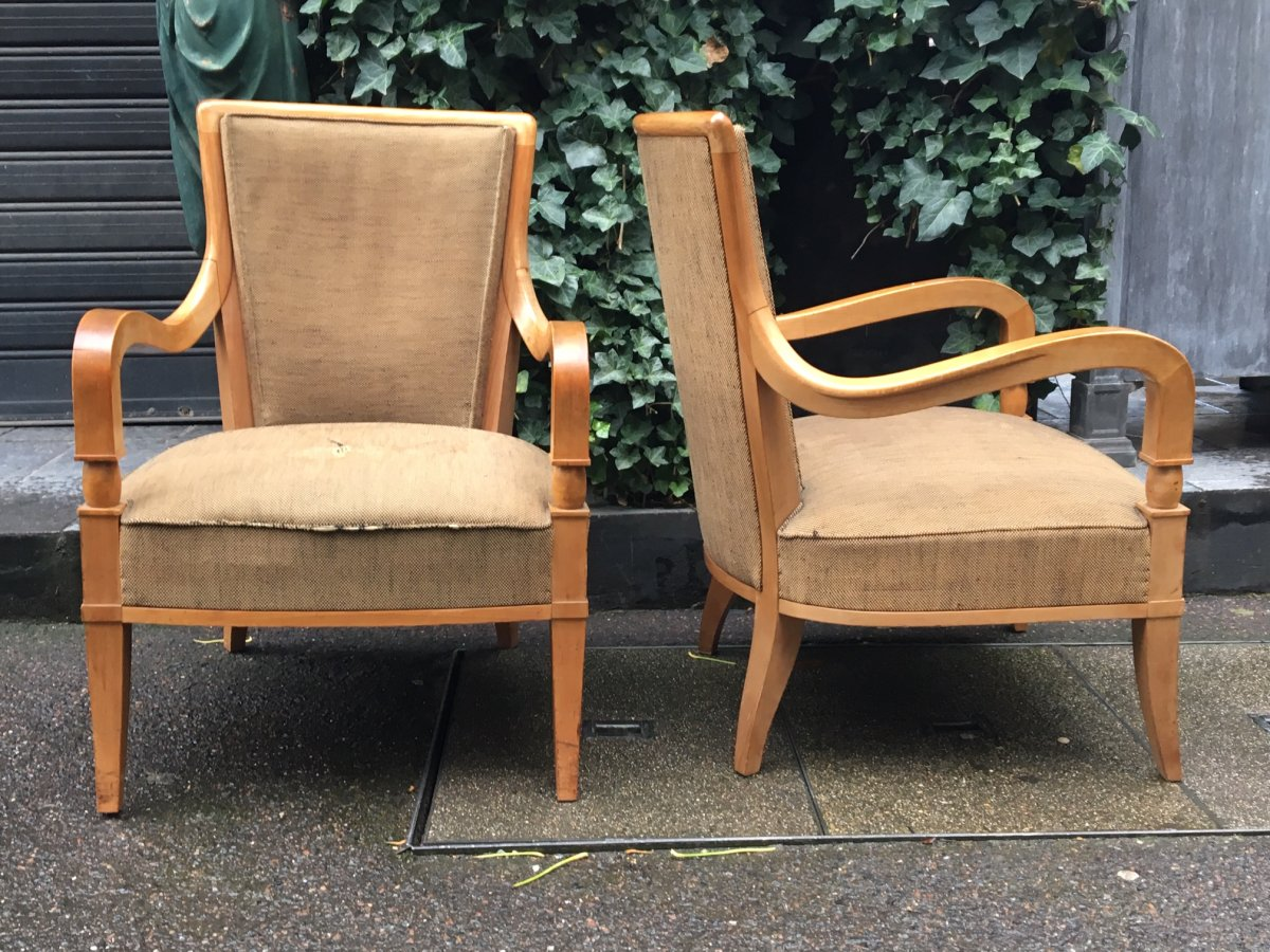 André Arbus (1903-1969), Pair Of Fireside Chairs, Circa 1940