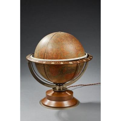 Léon Hatot (1883-1953) Dit Ato - Rare Pendule Formant Mappemonde - Vers 1930-1935