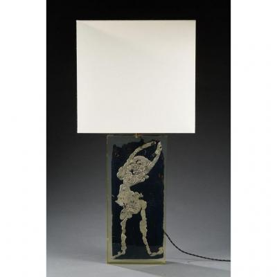 Table Lamp, Plexiglass, Wood And Lead, Circa 1970.