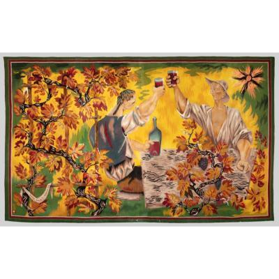 Marc Saint Saëns (1903-1973), Aubusson Tapestry, Les Buveurs, Circa 1944.