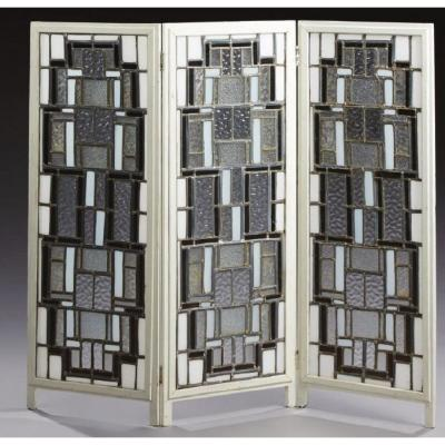 Attributed To Louis Barillet, Modernist Screen, Circa 1930.