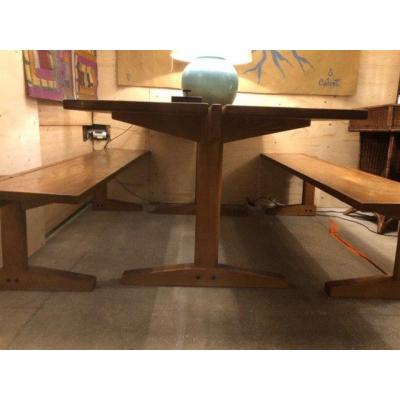 Dining Room Set: One Table And Two Bench, Circa 1960 - 1970