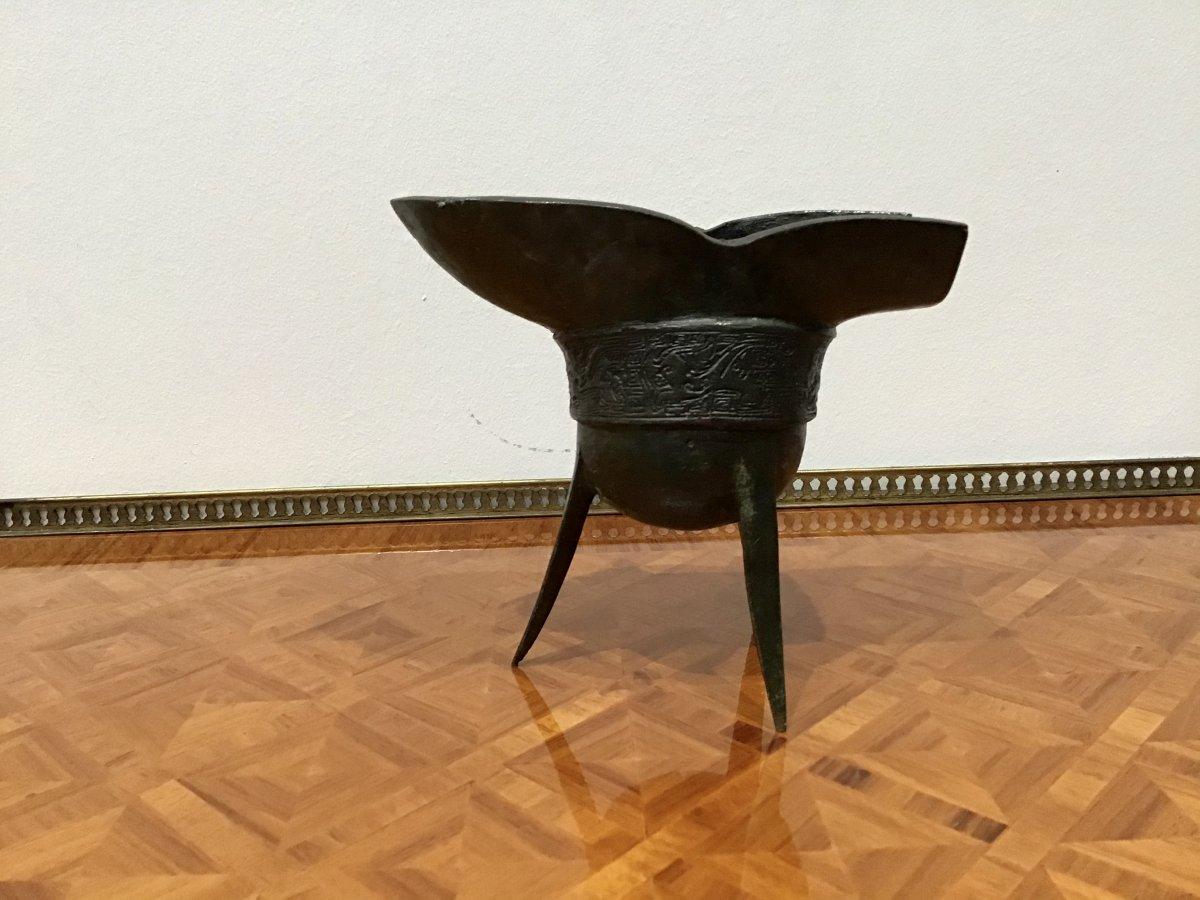 «Chine» Coupe Libatoire En Bronze à Décor Archaïque, fin XVIIIeme-photo-3