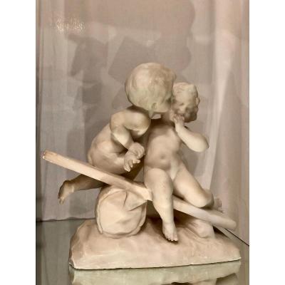 Emmanuel Villanis (1858-1914) Albâtre Représentant Cherubins
