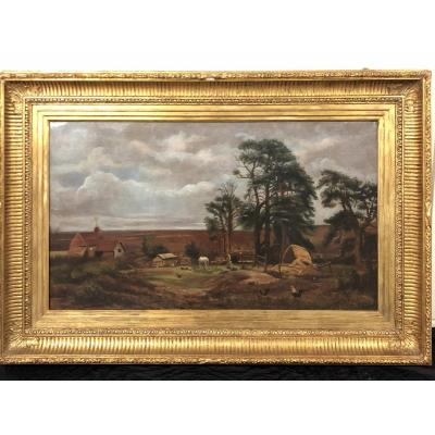 XIXth Century School, Large Farm Table In A Countryside Landscape