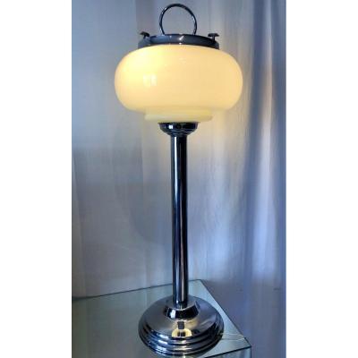 Ashtray Floor Lamp Design 1970 Chromed Metal And Opaline