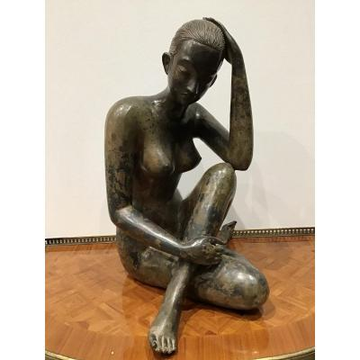 Pierre Chenet (20th Century) Young Seated Thinker