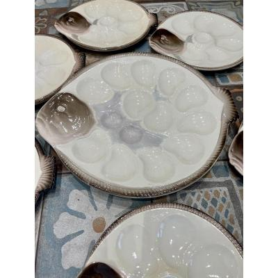 •Longwy• Service à huîtres en forme de poisson «Turbo»