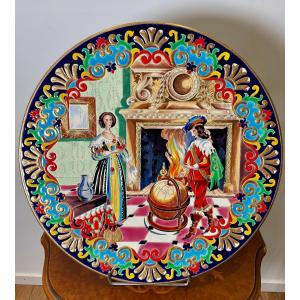 Longwy (earthenware) Important Cylindrical Dish Creation Of Paul Mignon