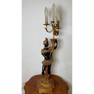 Nubian Painted Wood Lamp