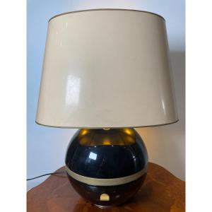 1970 Ball Lamp Black Lacquered And Golden Metal