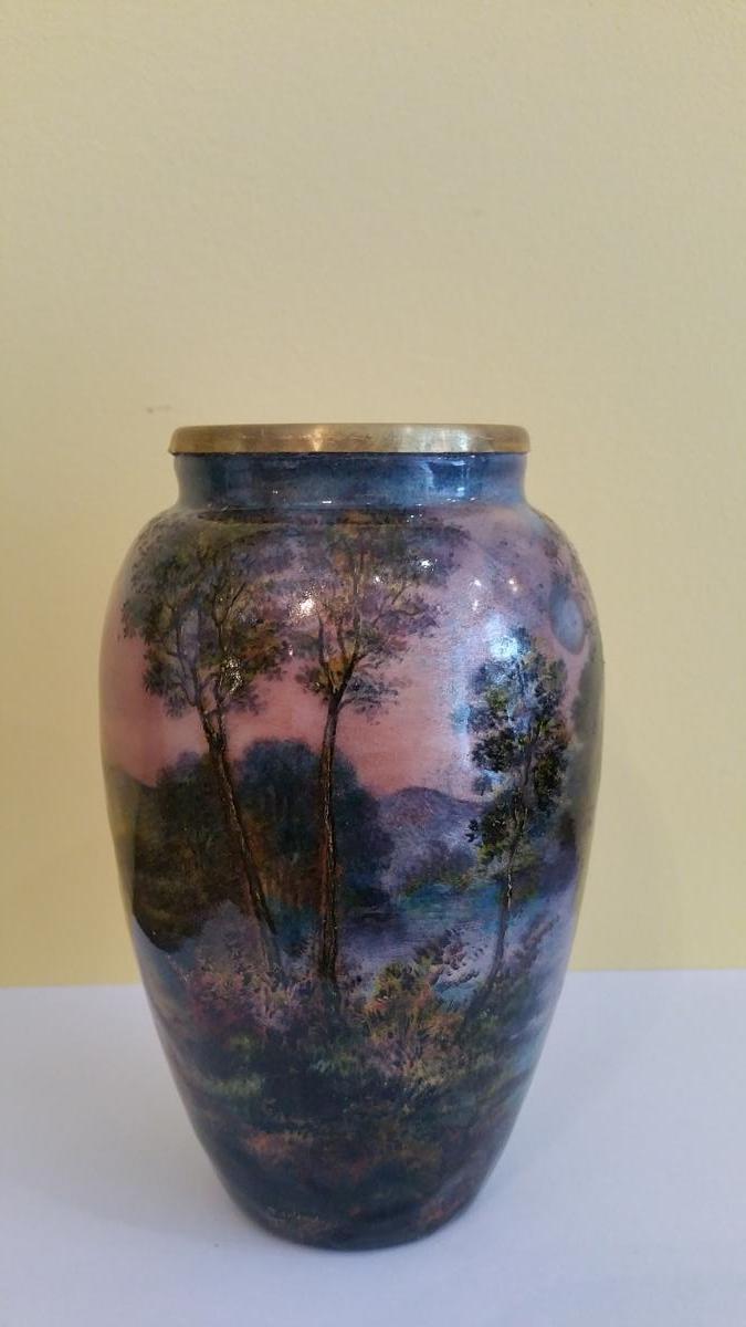 Sarlandie Jules : Vase en émail de Limoges à Décor Tournant d' Un Paysage