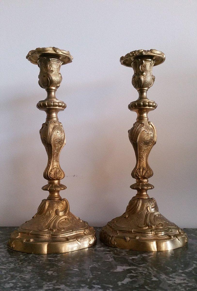 Paire de Flambeaux en Bronze Doré