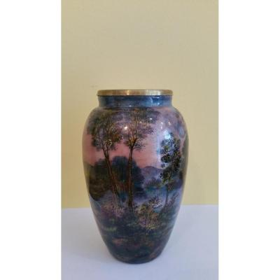 Jules: Enamel Vase From Limoges To Décor Turning A Landscape