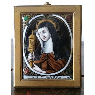 Laudin: Sainte Claire Limoges Enamel Plaque.