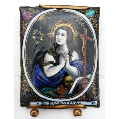 Laudin : Sainte Madeleine Plaque en émail de Limoges