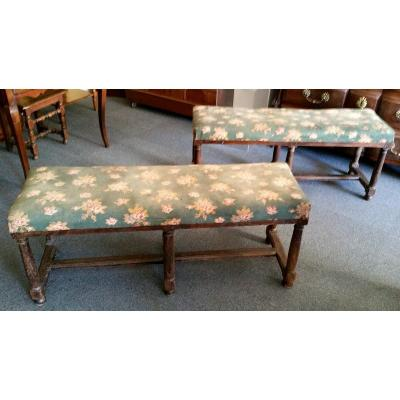 Pair Of High Period Oak Benches