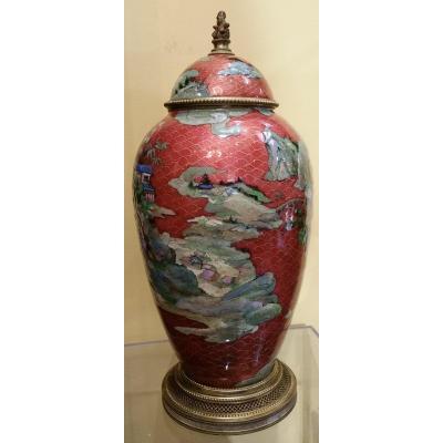 Fauré : vase couvert à décors Chinois
