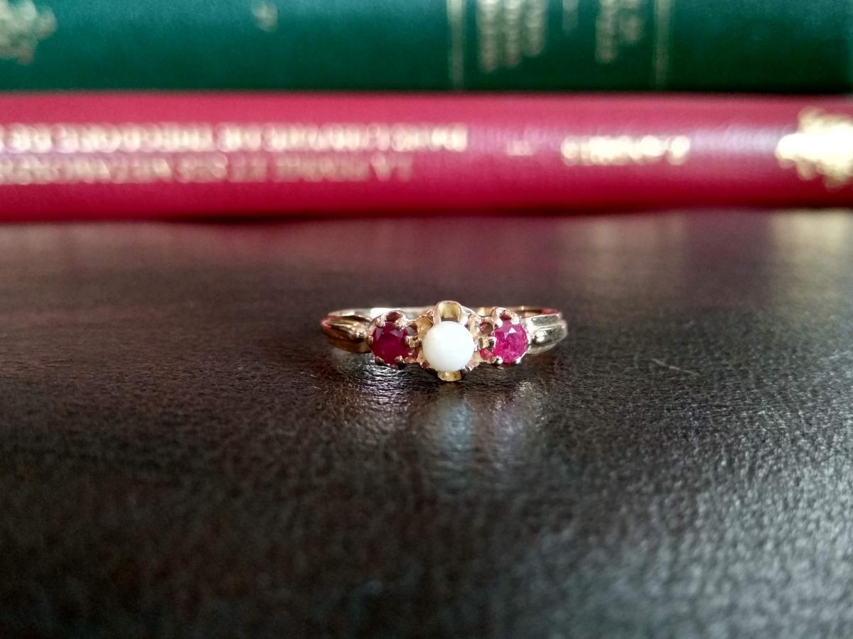 Bague Ancienne, Perle Et Rubis