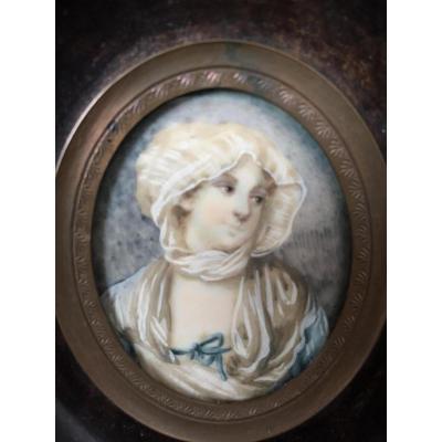 Portrait De Madame Greuze, Miniature Sur Ivoire