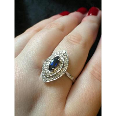 Bague Marquise En Or, Diamants Et Saphir