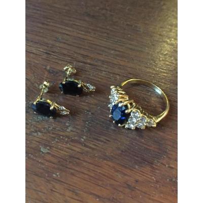 Bague Et Puces d'Oreilles Ornées De Diamants Et Saphir