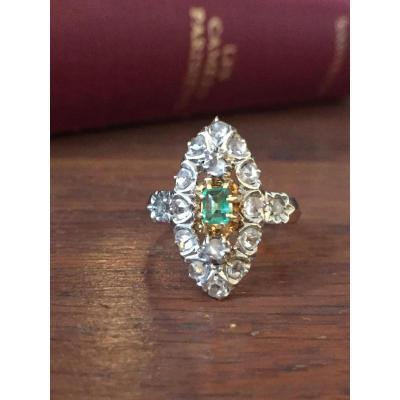 Bague Marquise, Diamants Et émeraude, Fin Du XIXe Siècle