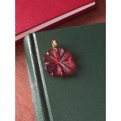 Pendentif Fleur Signé Lalique