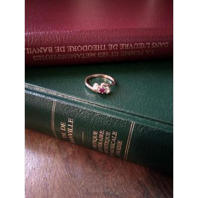 Bague Ancienne En Or Jaune, Rubis Et Diamants