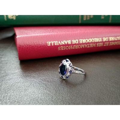 Bague Festonnée En Or, Platine, Saphirs Et Diamants