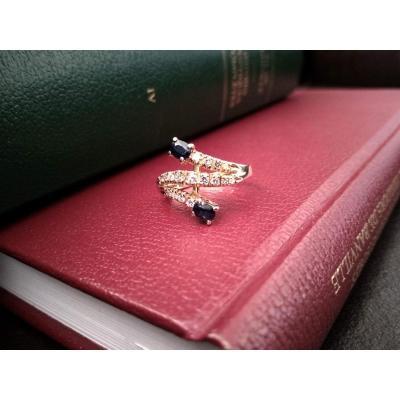 Bague En Or, Chute De Diamants Et Saphirs
